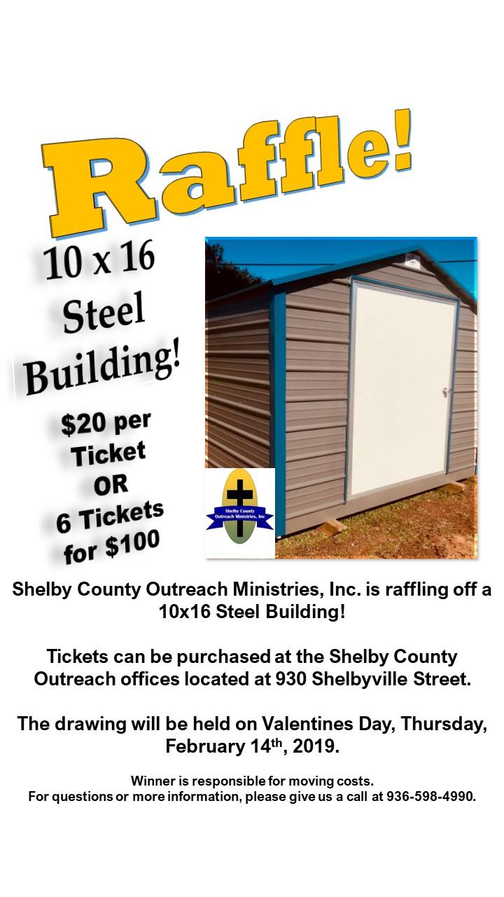 shelby county outreach ministries selling raffle tickets for steel building