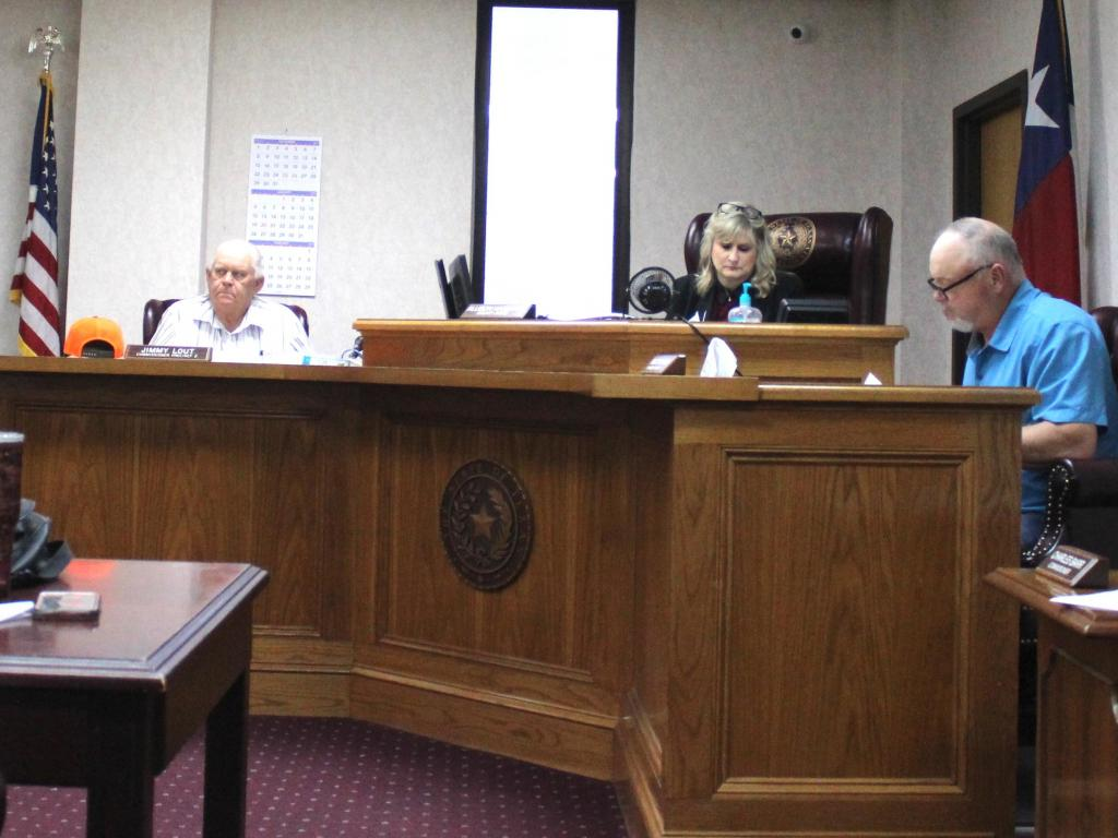 Shelby County Commissioner Jimmy Lout, Judge Allison Harbison and Commissioner Roscoe McSwain are seen at last week's commission meeting.