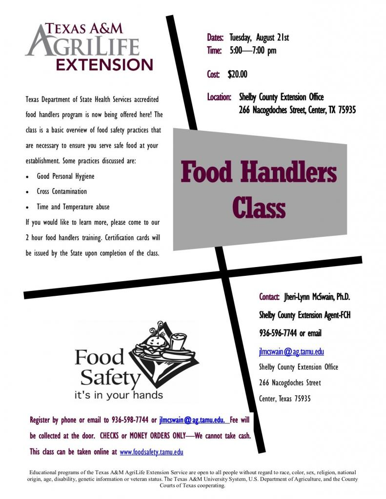Shelby County Agrilife Extension Food Handlers Class August 21