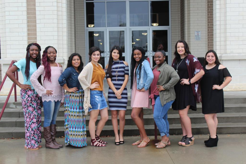 The 2018 Homecoming Court for Tenaha High School pictured above are (from left to right) Christasha Suell, BETA Sweetheart, Amya Giles, Athletic Sweetheart, Sarai Valencia, Band Sweetheart, Gracie Martinson, Junior Duchess, Giselle Rico, Senior Duchess, Iyterrica Giles,  Freshman Duchess, Marneisha Rasberry, Sophomore Duchess, Anna Holland, FFA Sweetheart and Guadelupe Sandaval, JCC Sweetheart.