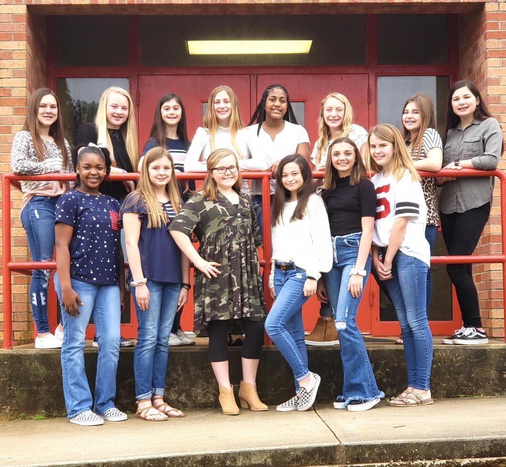 Shelbyville Middle School Cheerleaders for the 2020-2021 school year include, Carsey Lovell, Lanie Bass, Baylee Whiteside, Taylor Jones (Captain), JaBria Jones, Kylie Snell, Allie Jones, Kaylin Miller, Trinity Mitchell, Jayleigh Jones, Camille Greer, Bailee Bohannon, Campbell Chase and Addison Lloyd.