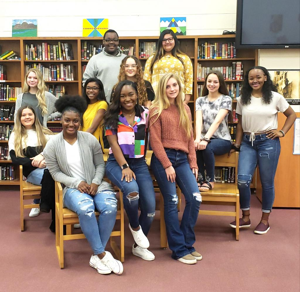 Serving as Shelbyville Dragon cheerleaders for the 2020-2021 school year are, front row: Ma'Kayja Horton, Azsahlia Cartwright and Gracie Leach; middle row are Zoie Porter, Nakyia Swindle, Molly Windham, Shiloh Amburn and TyKevia Blount; in the back row are Myla Wagstaff, Reese Davis and Chloe Musico.