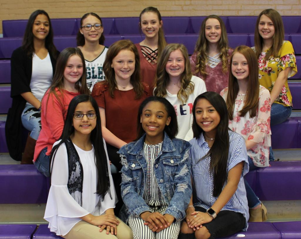 8th Grade Cheer Front row, left to right: Fatima Valadez, Paris Hill, Esmerai Hernandez;Middle row, left to right: Braileigh McDaniel, Carson Crouch, Julie Bird, Reese Cockrell;Back row, left to right: Kristina Riley, Jordyn Samford, Sayre Hall, Macey McSwain, Katie Ford