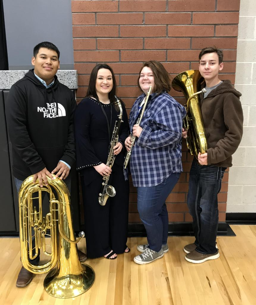 Left to right are band members Fabian Martinez, Alyssa Parks, Rebekah Parks, and Corey Branton who ranked high enough in their sections to qualify the Area competition.