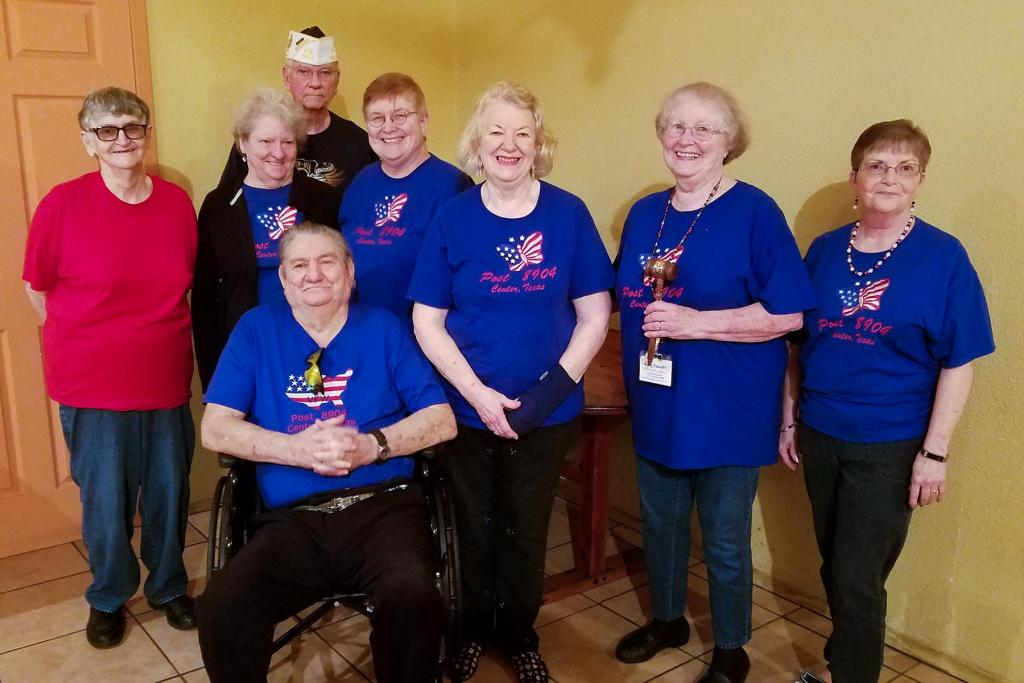 L-R: Carolyn Umbrell, Trustee # 3; Joy Hutto, Chaplain; Paul Risinger (sitting), Guard; Beverly Langford, Secretary; Sandy Risinger, Sr. Vice; Mary Fausett, President, Theresa Hume, Treasurer.  Installing Officer in back, past District 19 Commander and Post 8904 Quartermaster Larry Hume.