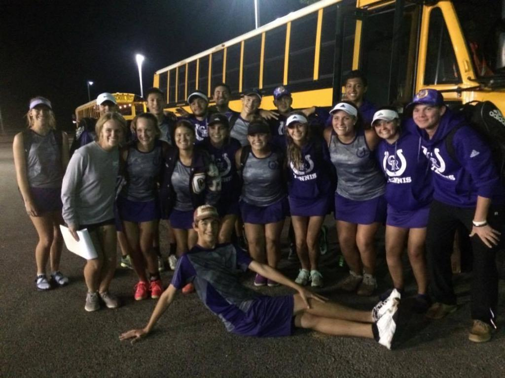 The 2017 Center Tennis Team gets ready to get back on the bus home