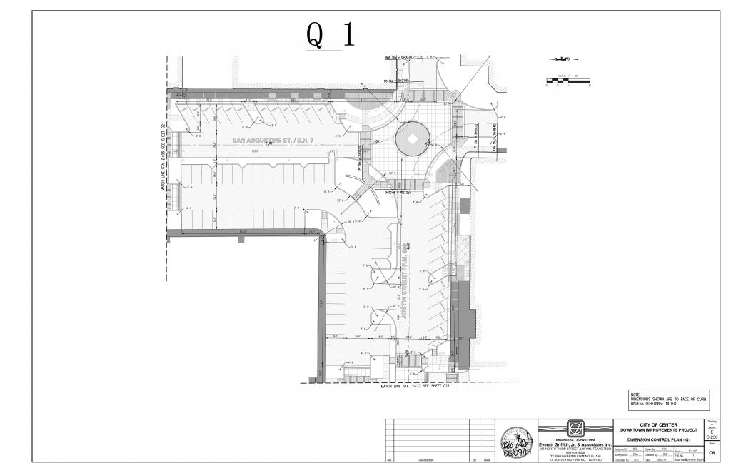 Drawing showing the two half block areas included in the first phase of streetscape work.