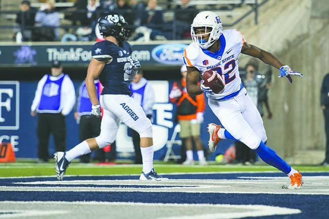 Octavious Evans scores first collegiate touchdown (Photos courtesy of Boise St.)
