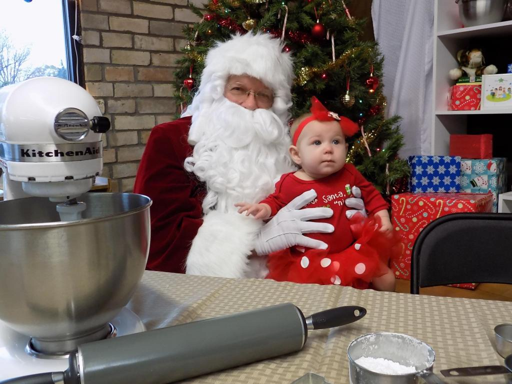 Scene from Sassy Red's on Saturday with Santa and cookie decorating.