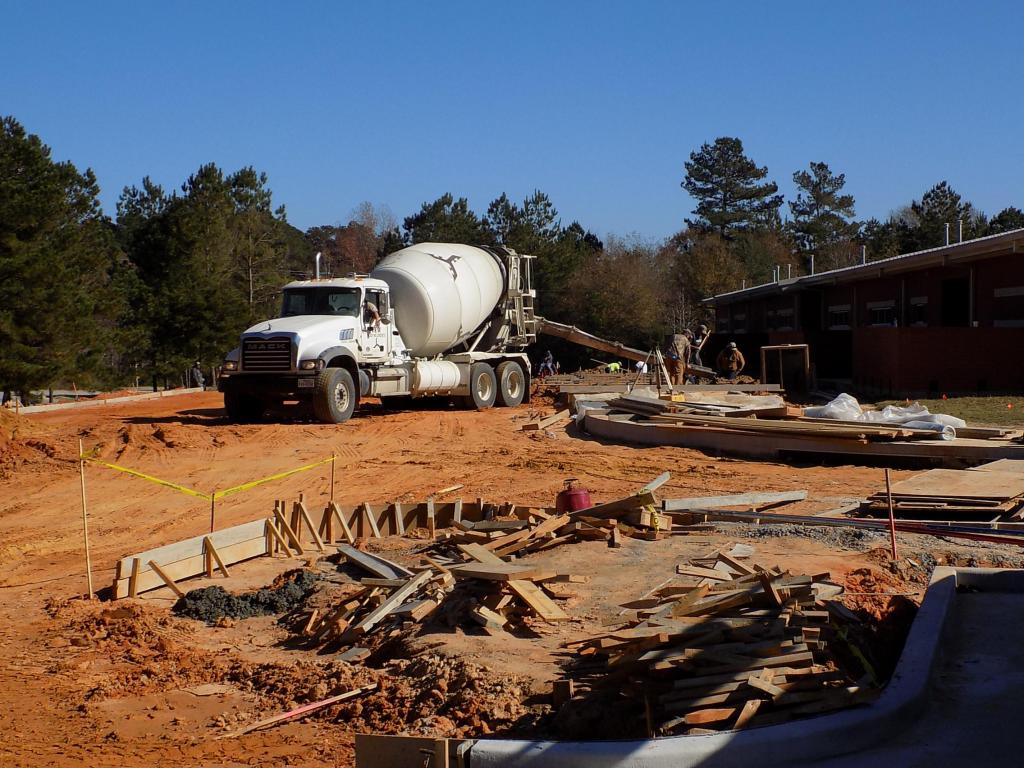 Workers were busy Tuesday, Dec. 4, pouring concrete at Center Elementary School for new driveways and parking.