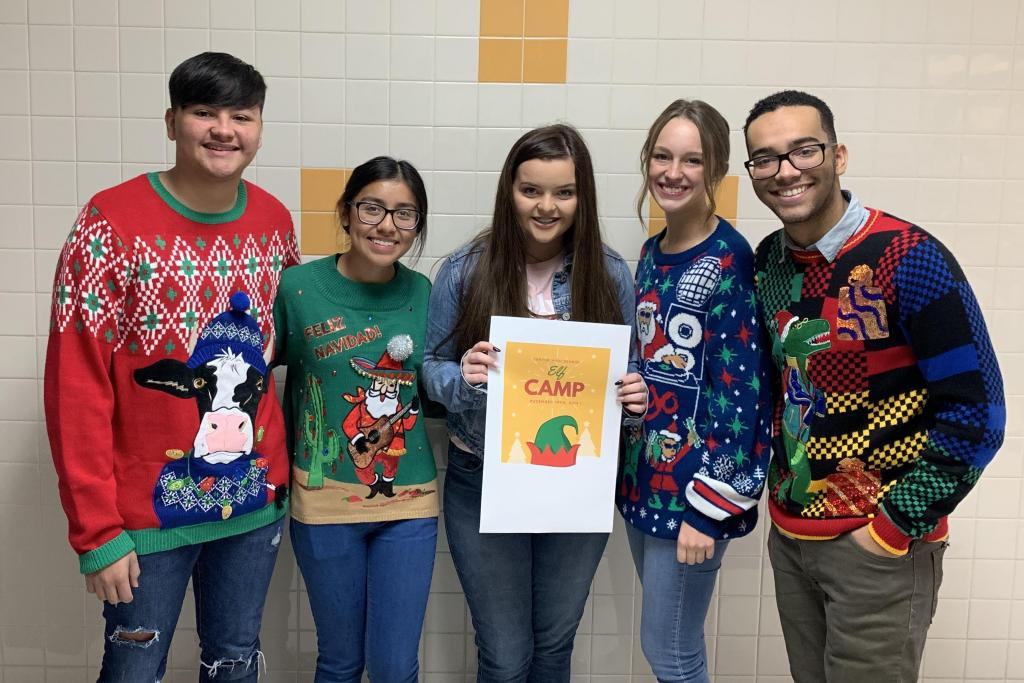 From left to right: Obed Lopez, Jessica Alvarado, Avery Snell, Caroline Scull and Mark Perkins