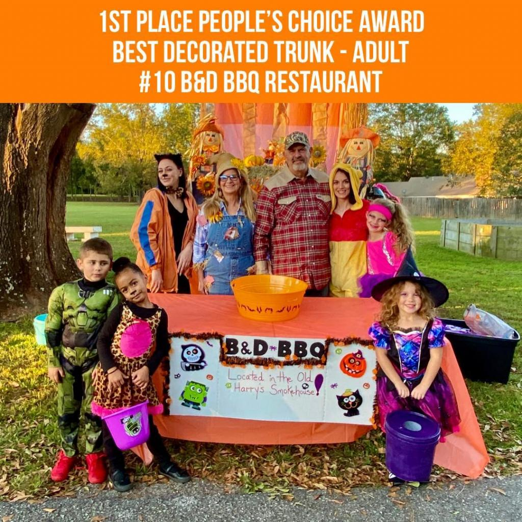 • 1st Place - Best Adult #10 B&D BBQ Restaurant Diane and Billy Jack Pearce, Jr. (Left to Right - Back Row: Megan Bartly, Diana Pearce, Billy Jack Pearce, Jr., Megan Lovett, Josi Pace / Front Row: Cadence Williams, Kyndel Bartly, Islee Pace)