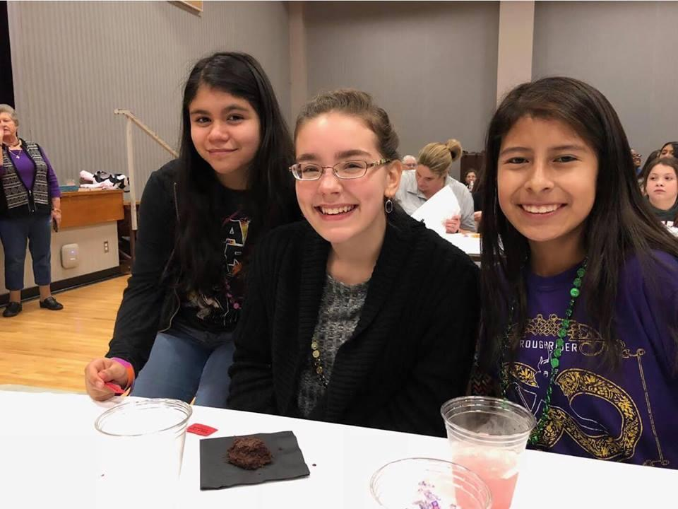 CMS students Stephanie Ruan, Ariel Liker and Cristina Hernandez are shown during a break in the event.