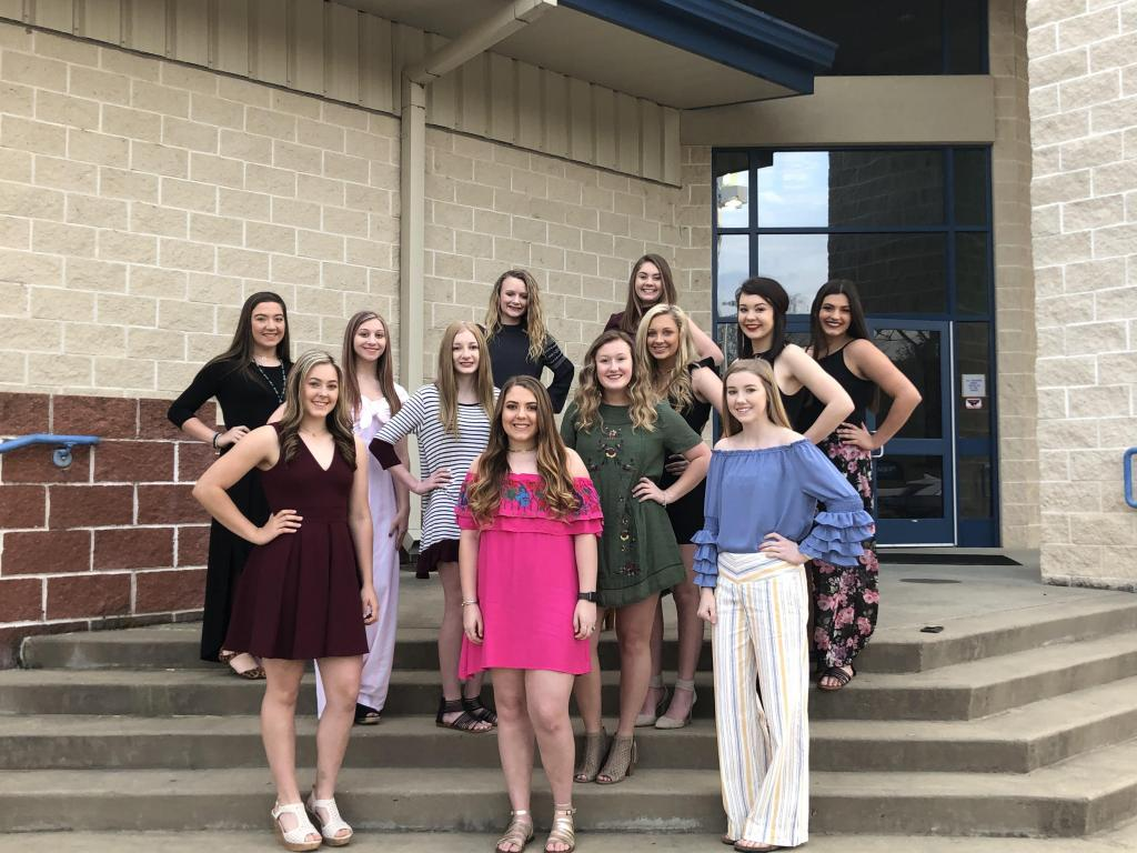 2019-2020 Joaquin Varsity Cheerleaders: Bottom Row — (left to right): Ebbie McCann Co-Captain, Caren Adams, Brooklinn Penning Co-Captain; Middle Row — (left to right): Lauren Neal, Jacy Covington, Molleigh Fults, Emma Martin, Addi Harvey, Ashleigh McKim and Kaylee Jo Oliver; Top Row (left to right): Stormy Runnels and Addi Boyter.