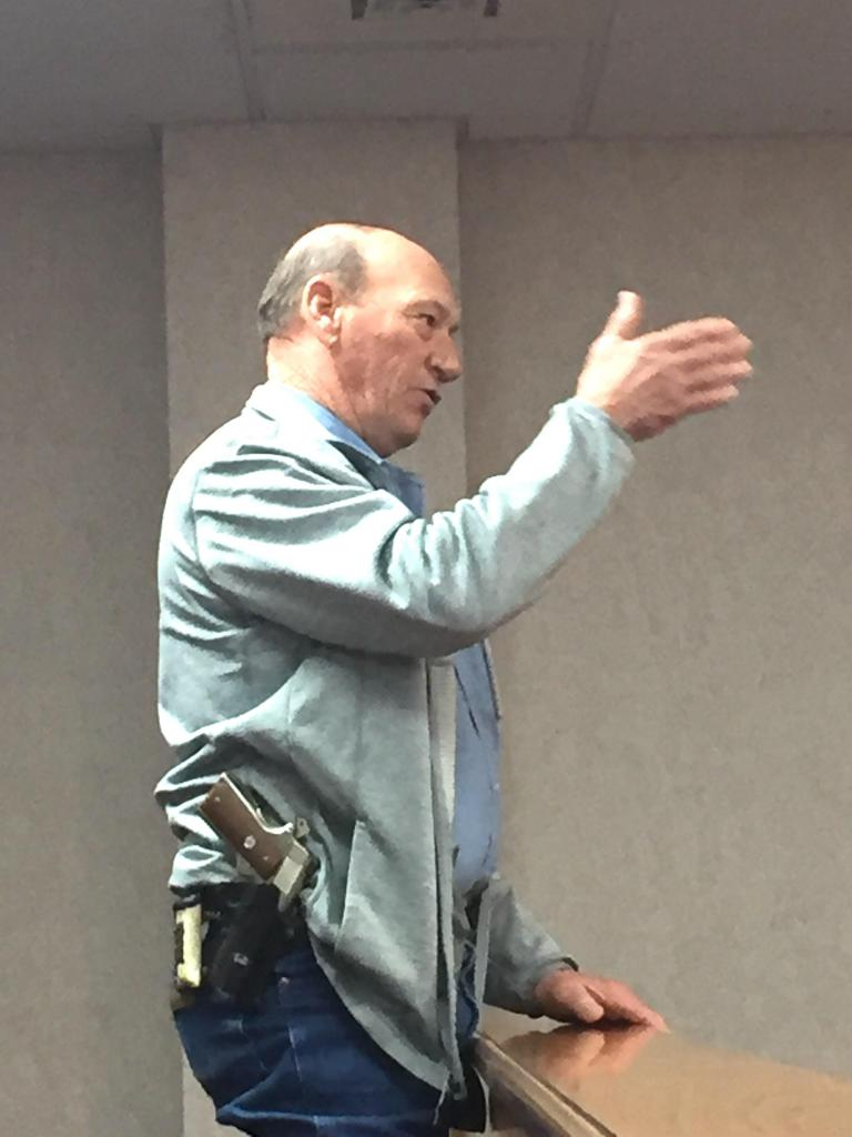 Shelby County Sheriff Willis Blackwell discusses a proposal to seek bids for fencing.