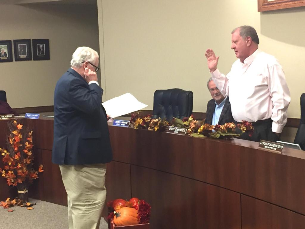 Incumbent Center Mayor David Chadwick was sworn into office for another term on Nov. 11 after no one filed to run against him.
