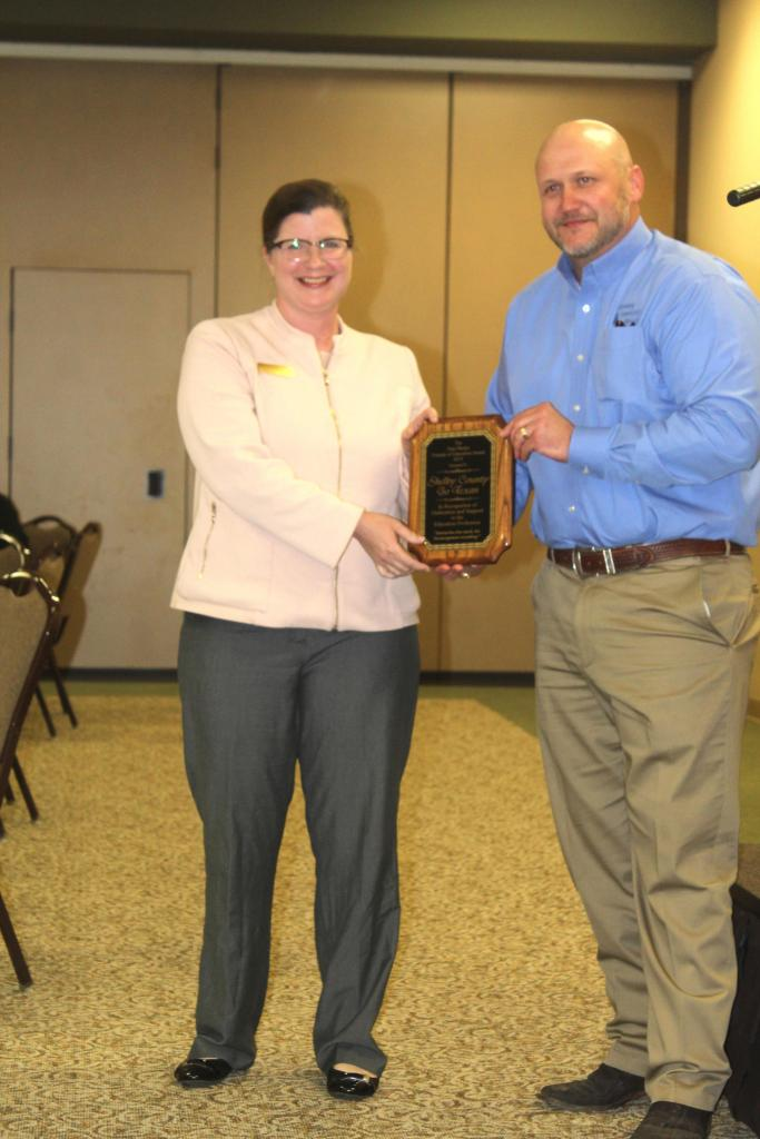 The Go Texan Committee, represented by Ed Johnson, was awarded the Pam Phelps Friends of Education Award for 2019 presented by Cansee Lester, left.