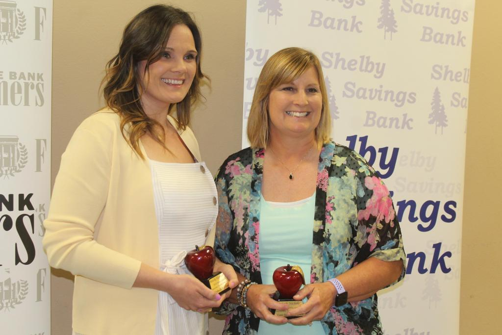Brooke Harrison, left, was named Shelby County Secondary Teacher of the Year, while Beth Nichols, right, is Elementary  Teacher of the Year.