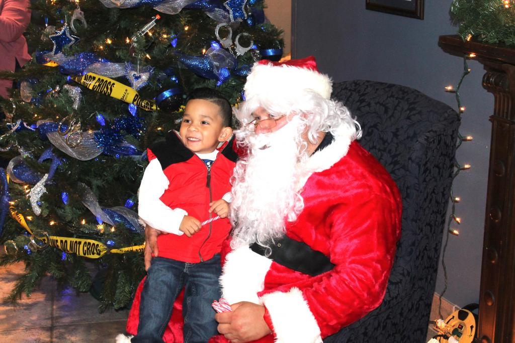 Scene from Sunday's Cookies and Cocoa With Santa at Center Police Department.
