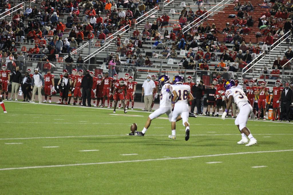 Center's Luis Gonzalez, #18, prepares to boot the opening kickoff Friday night.
