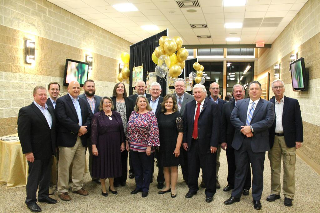 Past presidents of the Shelby County Chamber attending the banquet posed for a group photo prior to the event.