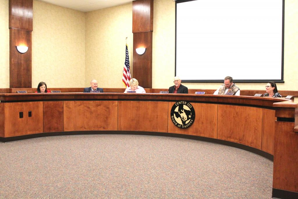 Scene from a February Center ISD board meeting. File photo