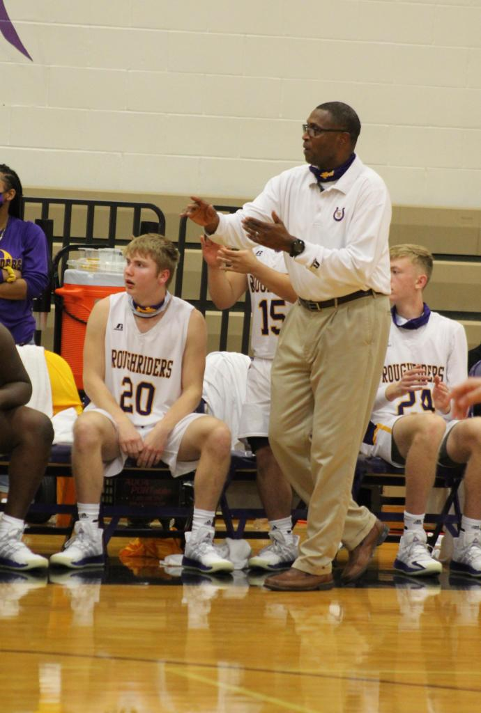 Center Roughriders head basketball coach Hiram Harrison on Dec. 8 reached his 500th career varsity high school basketball victory. He is seen on the sidelines of the Dec. 14 home non-district game against Kilgore played in Center. (Mike Elswick/The Light and Champion)