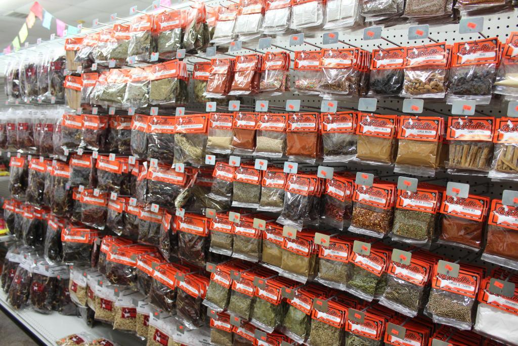 A large selection of spices await customers.