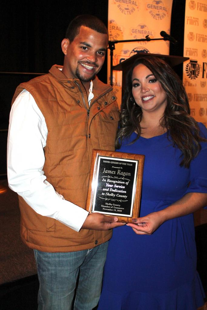 Young Citizen of the Year James Ragan with his wife Morgan.