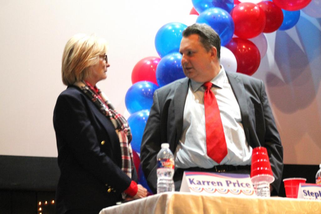 District Attorney candidatees Karren Price and Stephen Shires.