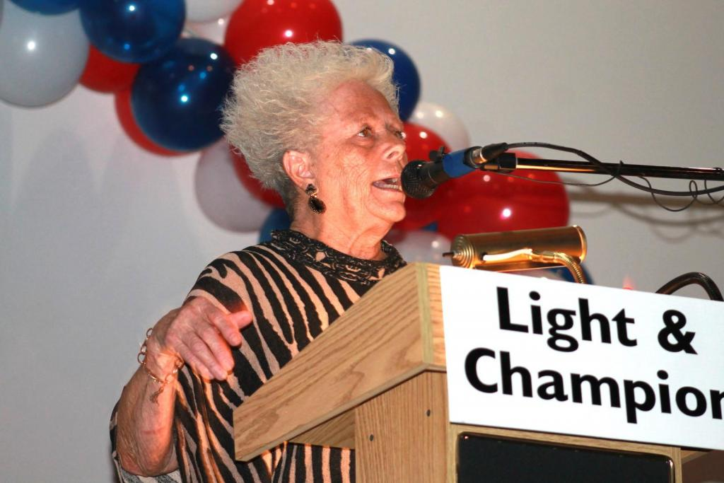 Melba Rodgers addressed a political forum hosted by The Light and Champion at the Rio Theatre.