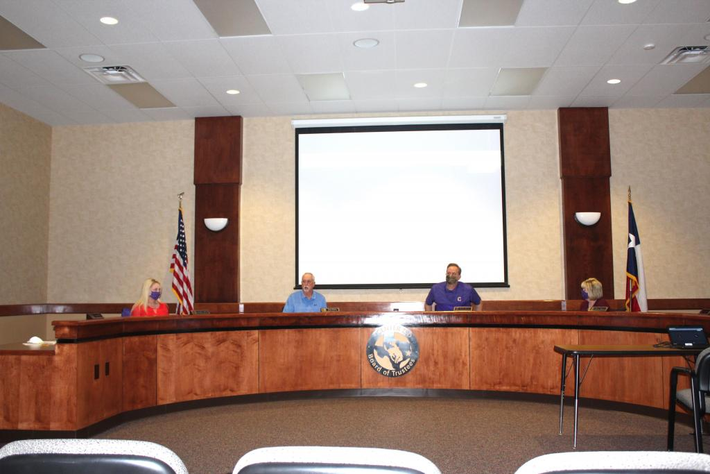 Scene from April 9 Center ISD Board Meeting which was conducted via teleconference.