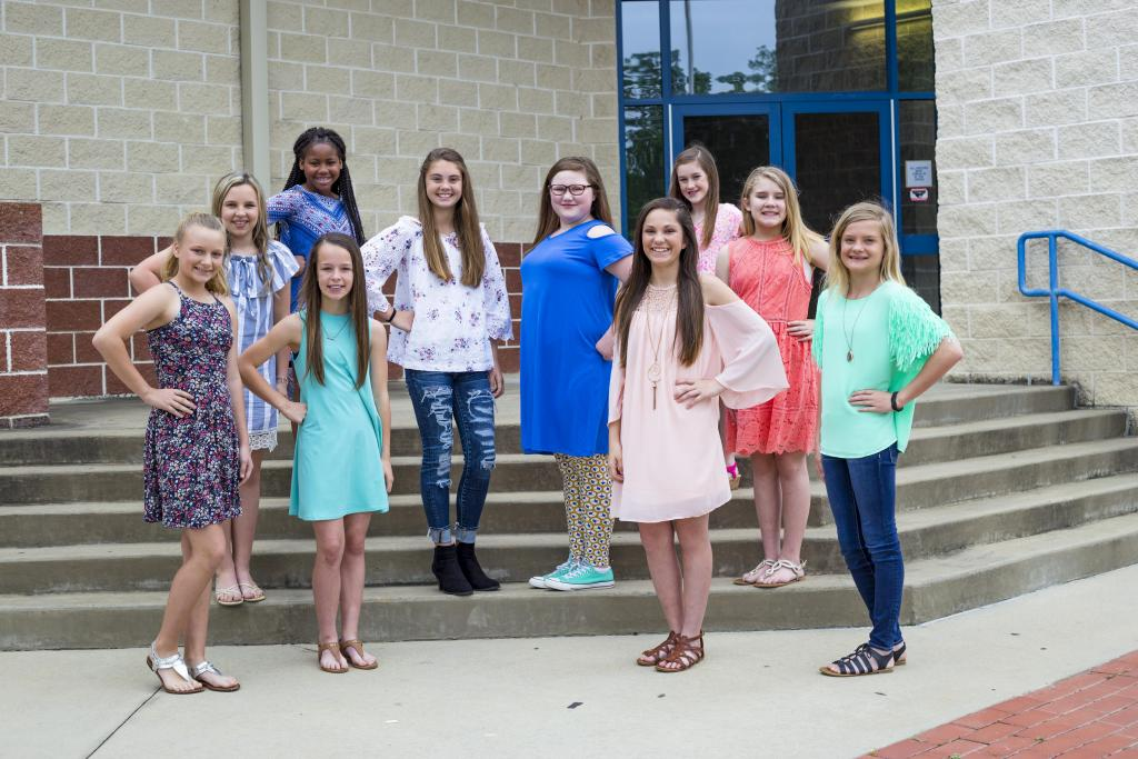 Bottom Row (left to right): Stormy Runnels, Molly Bushiey Co-Captain, Juli'Ann King Co-Captain, Kensleah Loftin  Middle Row (left to right): Brylea Scott, Addi Boyter, Leah Watson- Mascot, Ryen Walters  Top Row (left to right): Ke'maria Wilson & Madison Fenley