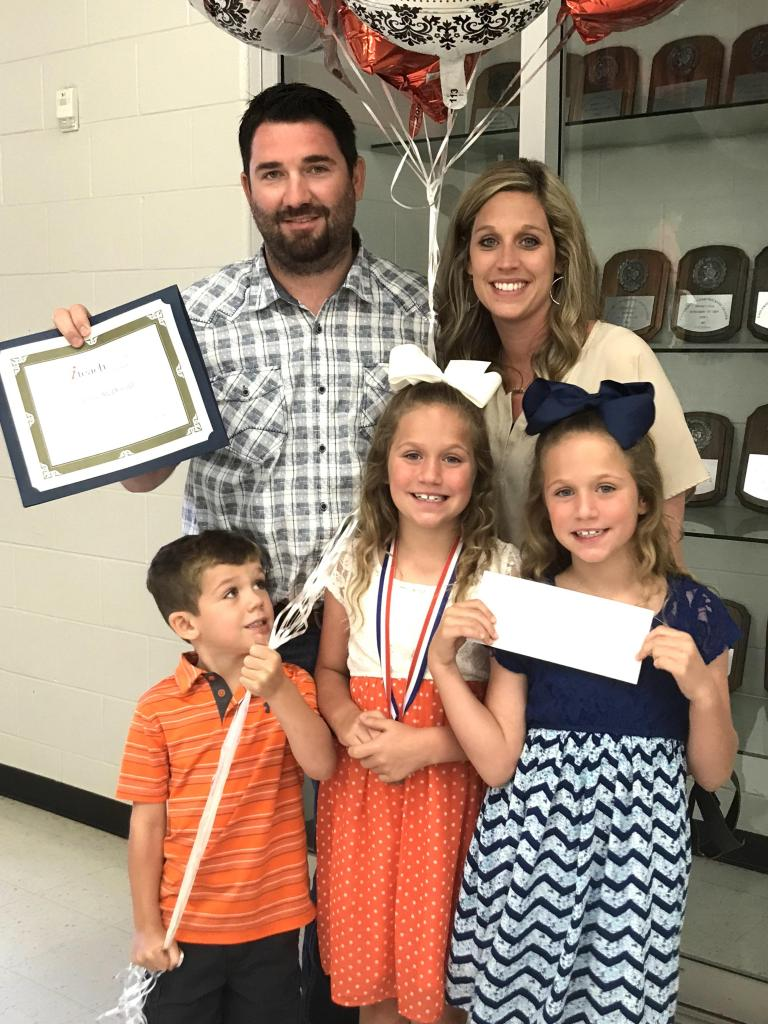 Iteach Texas Elementary Teacher of the Year, Mr. Jason McDonald.  His wife, Lyndy McDonald, and children.   Twin daughters, Dallas and Denver and son Landry.