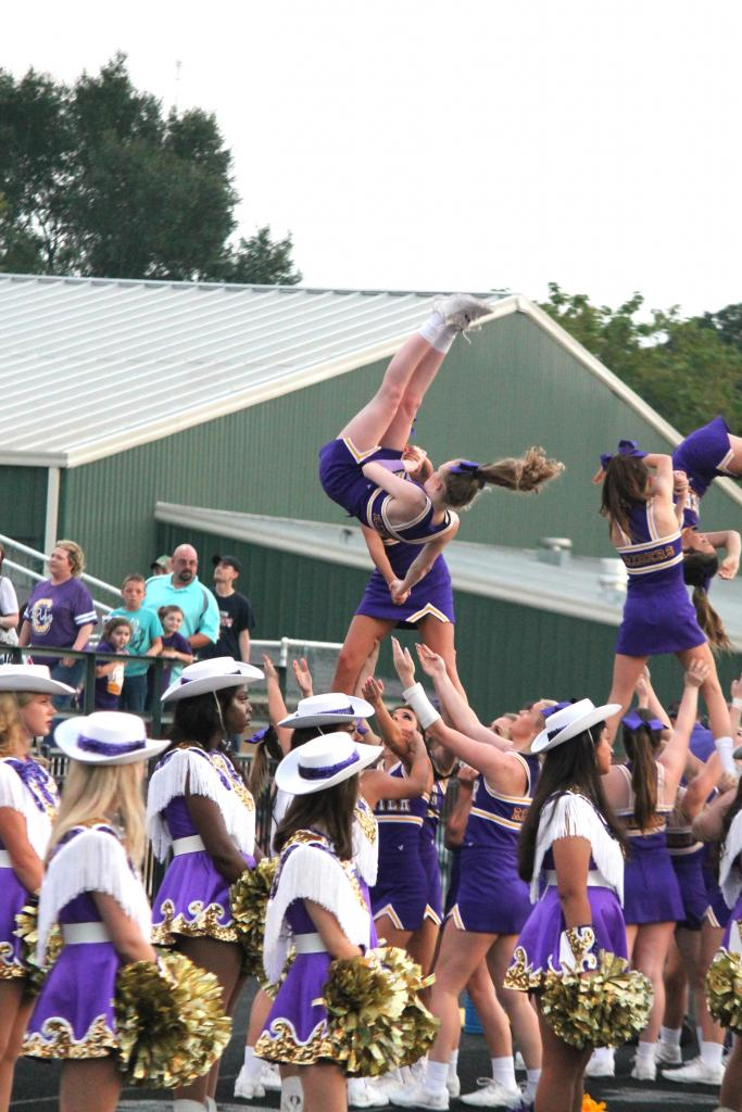 The Center High Cheerleaders helped get the fans in game mode.
