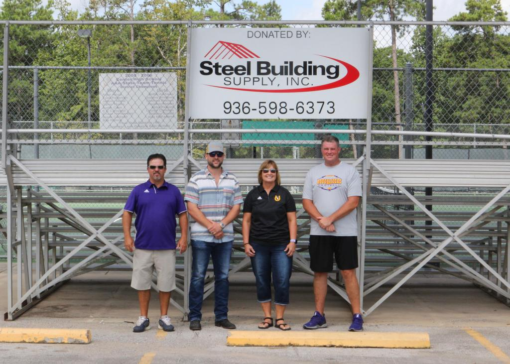 From left to right: Head Tennis Coach Leon Dykes, Jesse Teske from Steel Building Supply, Assistant Tennis Coach Beth Nichols, and Center ISD Athletic Director Scott Ponder