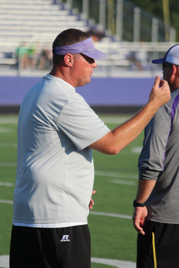 Head Roughrider Football Coach Scott Ponder on the sidelines of Thursday's JV game.