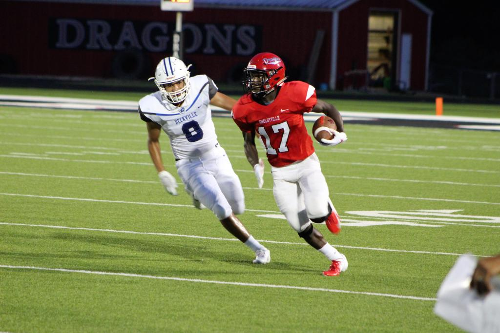 Senior running back Jaylon Brinson lit up the scoreboard for the Dragons in their home opener against the Beckville Bearcats. Brinson totaled 234 all-purpose yards and three rushing touchdowns. (Photo by Taylor Bragg, Freelance Photographer/Light and Champion)