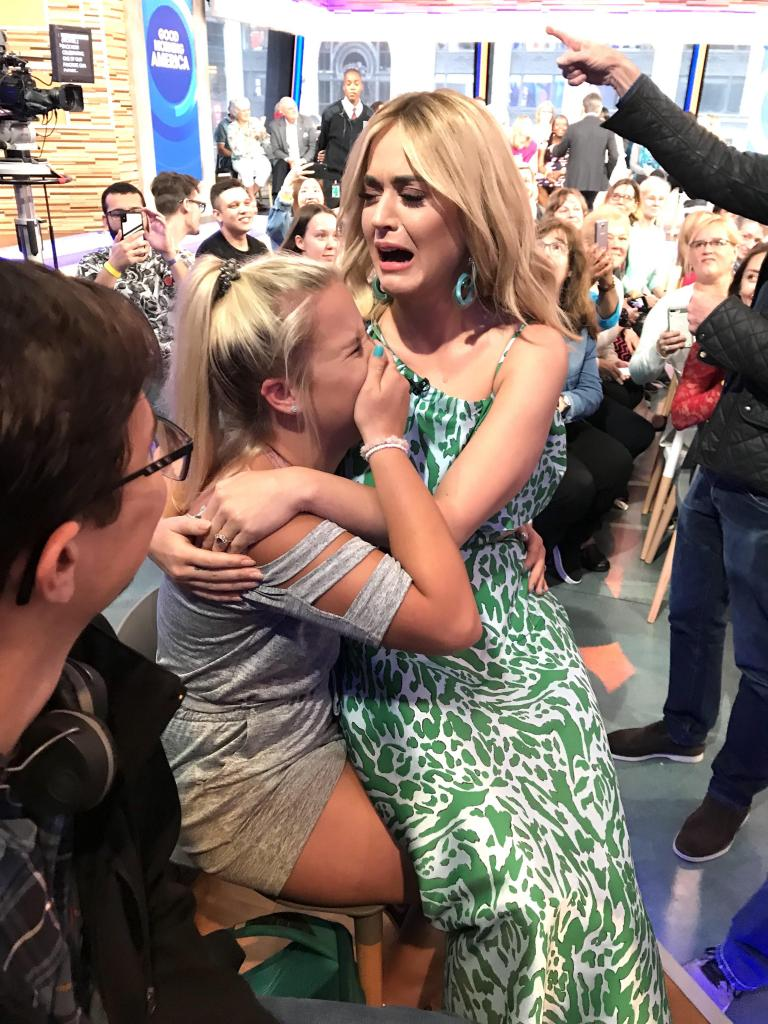 Timpson senior band student Cassidy Clifton gets a visit from singer Katy Perry.