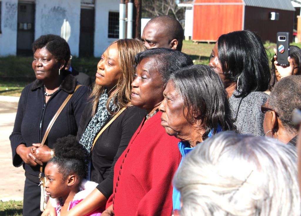 Among the crowd of about 100 people attending Saturday's historic marker dedication were family members of one of the lynching victims, Lige Daniels. (Mike Elswick/The Light and Champion)