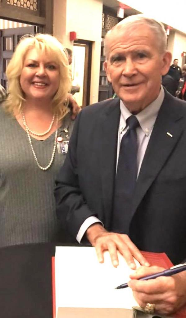 Columnist Marsha Woolf-Barnett is seen with Oliver North recently in Sheveport.