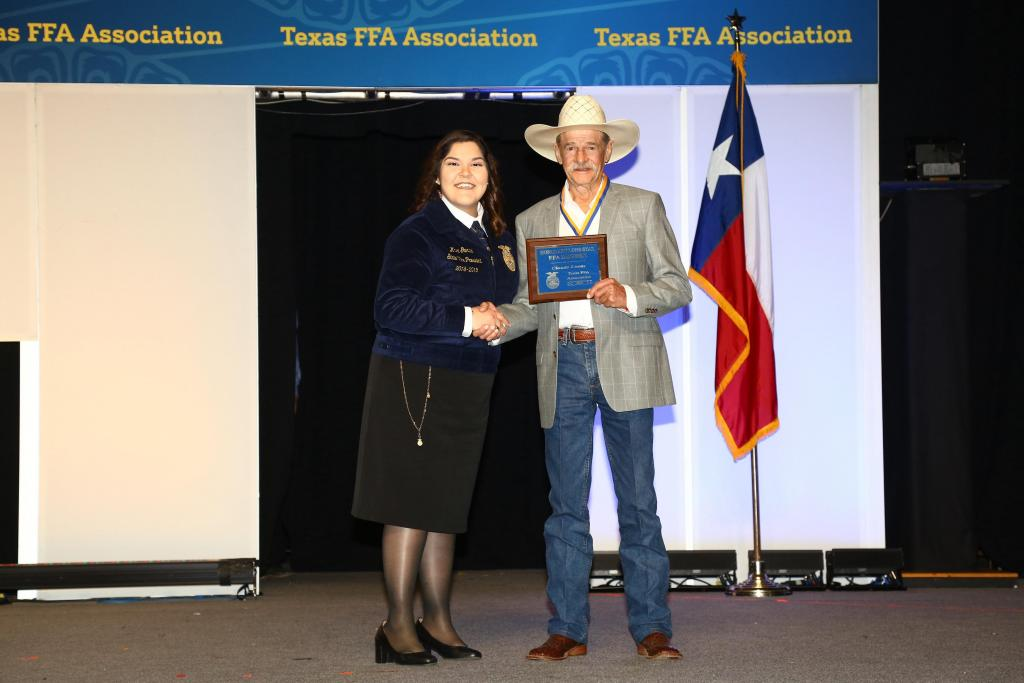 Claude Lucas received an Honorary Lone Star Degree. The Honorary Lone Star FFA Degree is the highest honorary degree bestowed by the Texas FFA.