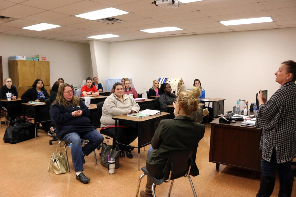 Anne Stacy-Robbins discusses Music and Memory with Shelby College Center Certified Nurse Aide students at Panola College.