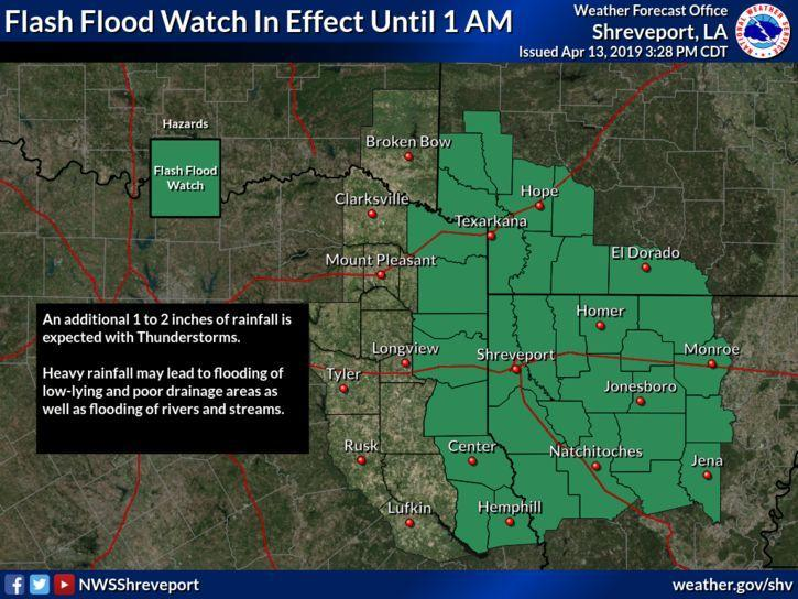 Flash flood watch map