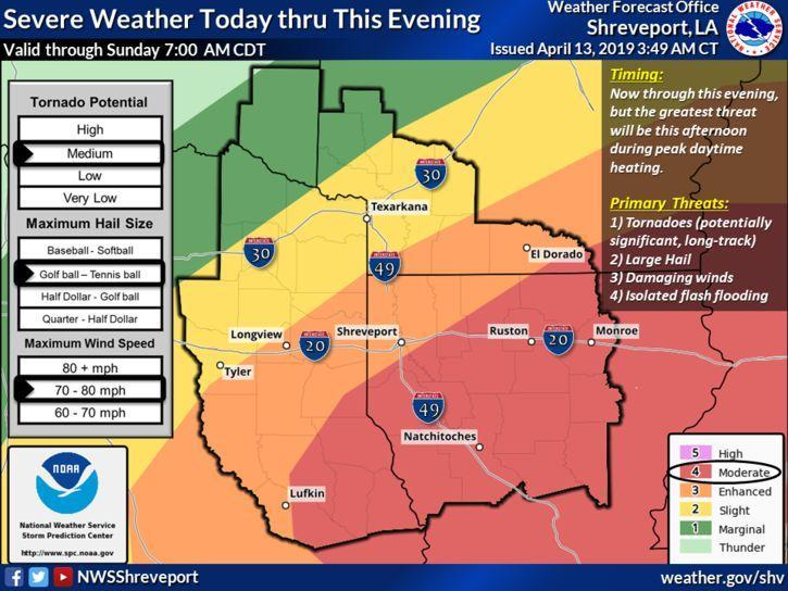 There is a risk for severe storms across much of Four State Region today and into this evening. The main threat this morning will be large hail and damaging winds. However, the threat will increase this afternoon during peak daytime heating. Tornadoes, large hail, damaging winds, and locally heavy rainfall will be possible. The severe weather threat should diminish by late this evening.