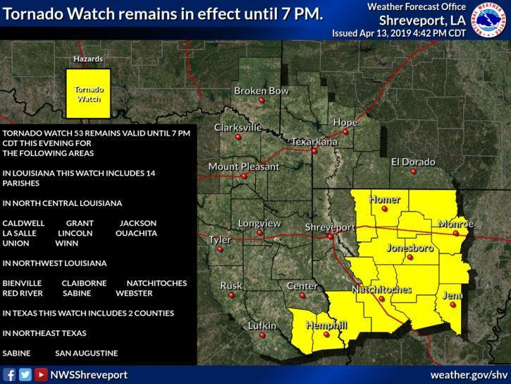 Tornado watch map