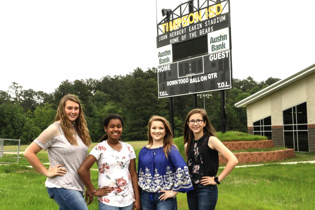 Timpson High School Twirlers for 2019-2020 are Kayleigh Wolf, Chelsey Franks, Kaitlyn Crockett and Mackenzie Parks.
