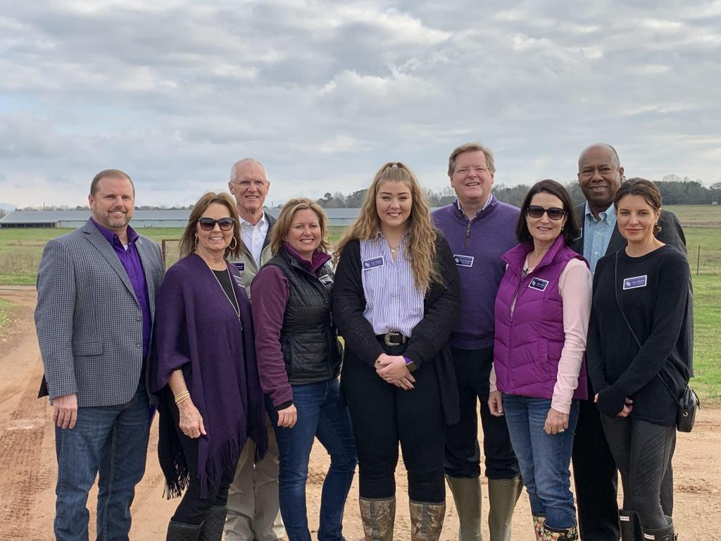 Members of the Stephen F. Austin State University Board of Regents toured the Walter C. Todd Agricultural Research Center during the board's January meeting. Construction will begin soon to replace the center's beef barn, which was destroyed by fire in November 2018. Pictured are, from left, SFA President Dr. Scott Gordon;  Regents Brigettee Carnes Henderson of Lufkin,  M. Thomas Mason of Dallas, Karen Gantt of McKinney; Zoé Smiley of Corrigan, student regent; and Regents Dr. Scott Coleman of Houston, Judy Olson of The Woodlands, Alton Frailey of Katy, and Jennifer Wade Winston of Lufkin. Regent David Alders of Nacogdoches is not pictured