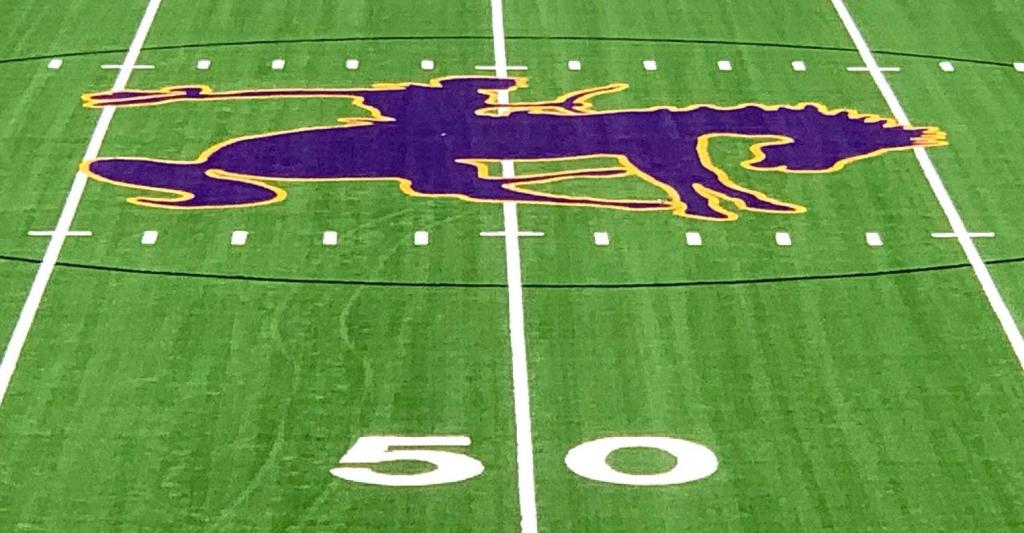 The new Roughrider logo on the recently installed turf at Roughrider Stadium.