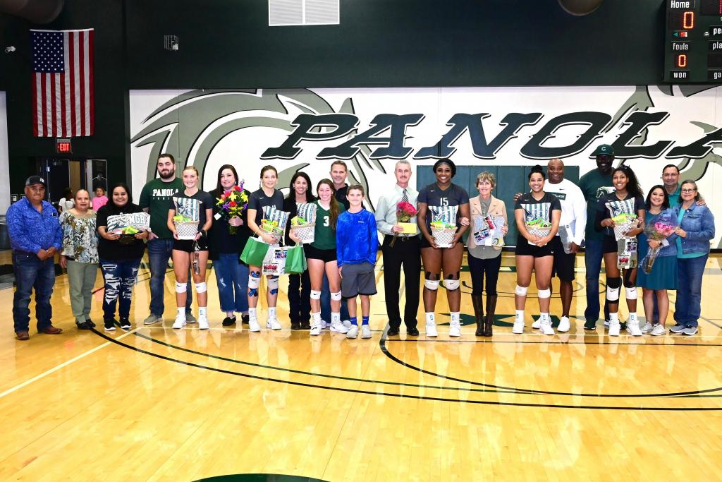 Panola College sophomores on the Fillies Volleyball team were honored Wednesday before the match against TJC. (Photo courtesy Kraig Cain Photography)